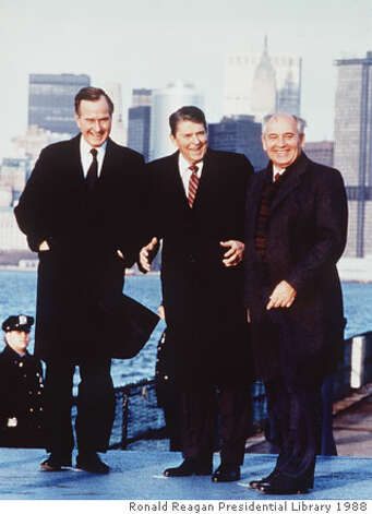 Ronald Reagan joined Vice President George H.W. Bush, left, and Soviet leader Mikhail Gorbachev in New York in 1988. Reagan had predicted the Soviet Union's collapse. Photo courtesy of Ronald Reagan Presidential Library 1988