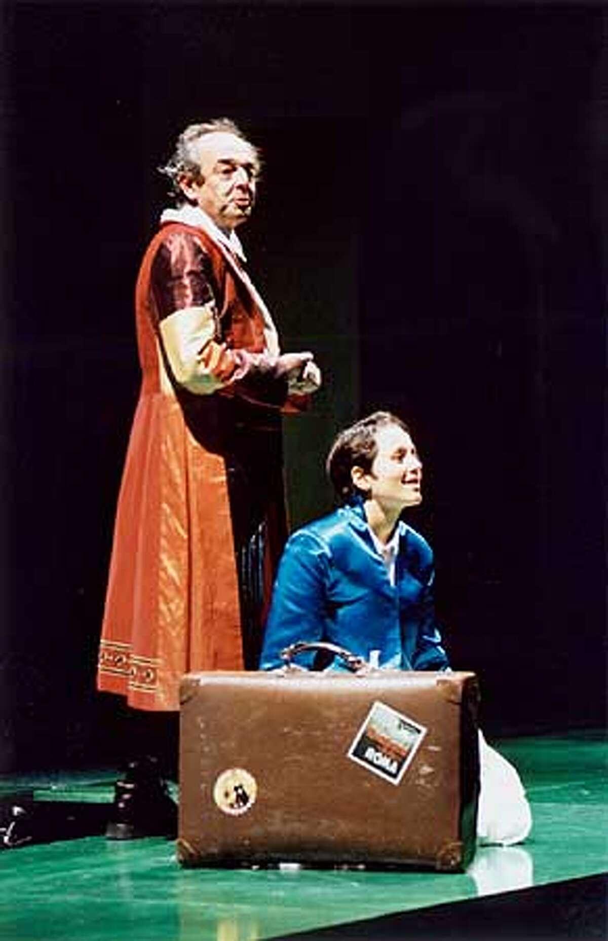 Dominique Serrand as the storyteller Rashad Khalifa and Nora El Samahy as Haroun Khalifa in Haroun and the Sea of Stories. Photo: Kevin Berne
