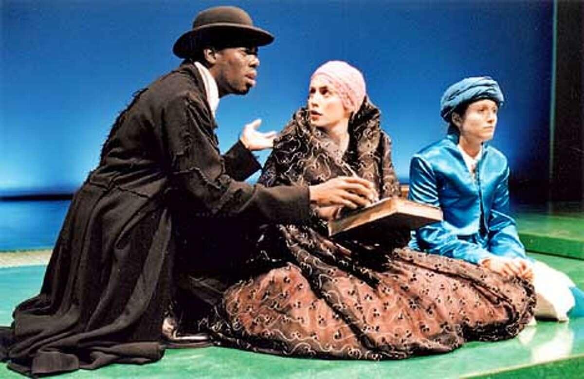 Colman Domingo as Mr. Sengupta, Jennifer Baldwin Peden as Soraya Khalifa and Nora El Samahy as Haroun Khalifa in Haroun and the Sea of Stories. Photo: Kevin Berne
