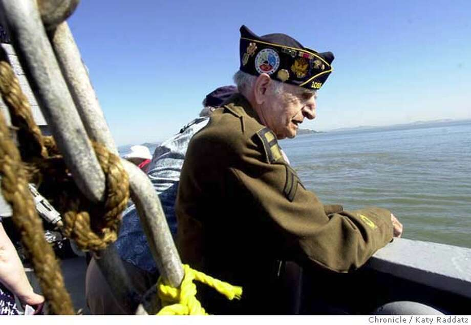 "SHOWN: Vincent Tuminello catches a quiet minute to look over the bay. Vincent was a Corporal in the first division of the infantry, and was in the Normandy landing. He is from New York, ""three blocks from the Brooklyn Bridge."" SS Jeremiah O'Brien, the last of the Liberty Ships, takes a commenoration cruise on the 60th anniversary of DDay and the Normandy Invasion. Katy Raddatz / The Chronicle Photo: Katy Raddatz"