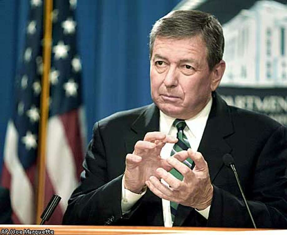 Attorney General John Ashcroft gestures during a news conference at the Justice Department in Washington Monday. Nov. 18, 2002 to discuss the ultra-secret Foreign Intelligence Surveillance Court. Ashcroft commented on a federal appeals court panel ruling that the Justice Department has broad discretion in the use of wiretaps and other surveillance techniques to track suspected terrorists and spies. (AP Photo/Joe Marquette) Photo: JOE MARQUETTE