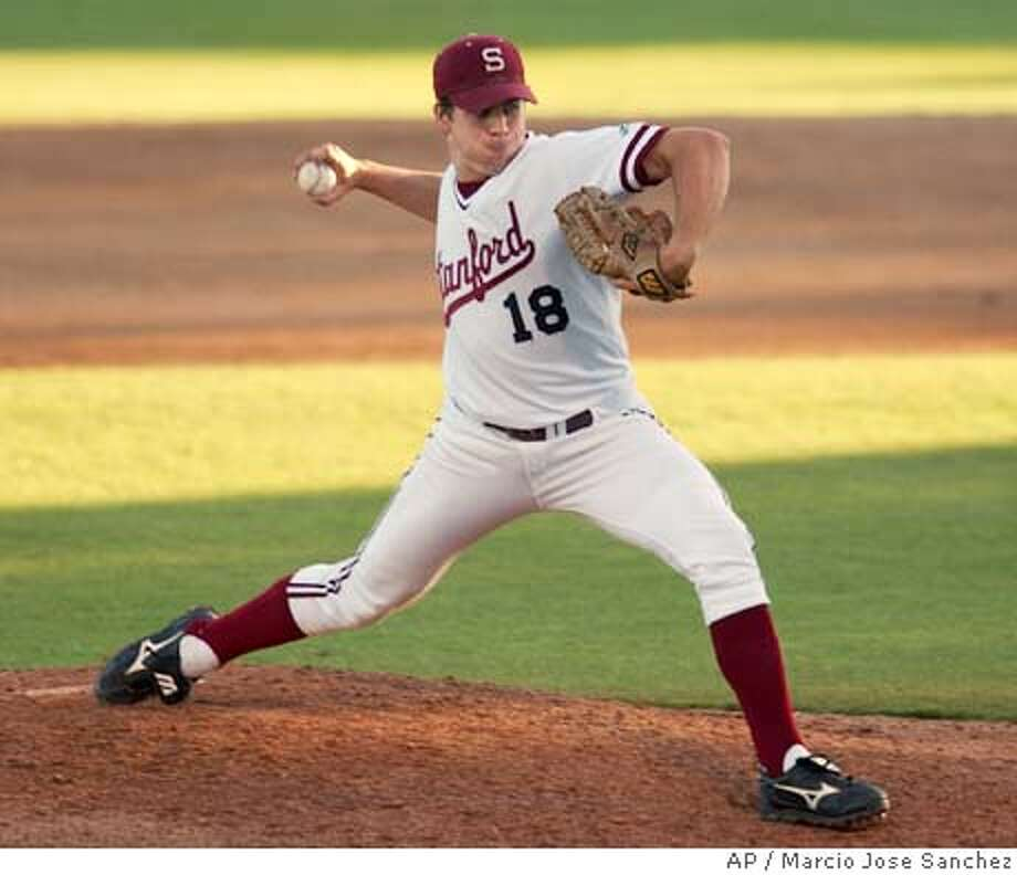 Stanford starting pitcher Jeff Gilmore pitches to UNLV in the first inning during the NCAA Division I Baseball Regional in Stanford, Calif. on Friday, June 4, 2004. (AP Photo/arcio Jose Sanchez) Stanford starter Jeff Gilmore pitched his second complete game of the season as the Cardinal opened the postseason with a victory over UNLV. Stanford starter Jeff Gilmore pitched his second complete game of the season as the Cardinal opened the postseason with a victory over UNLV. Photo: MARCIO JOSE SANCHEZ
