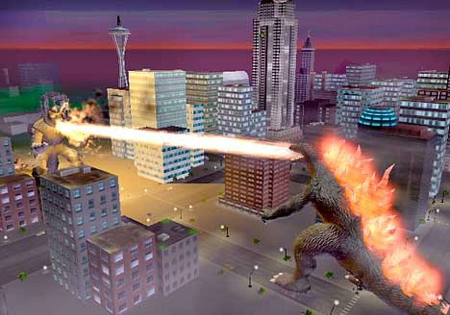 Godzilla takes on monster foes in various settings, including Seattle, in Godzilla: Destroy All Monsters Melee