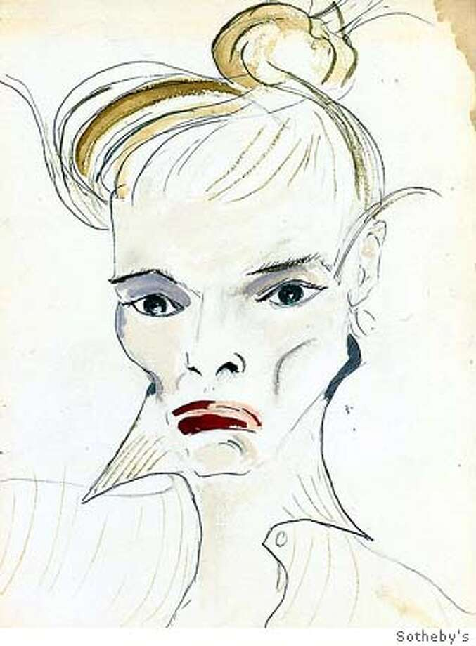 (NYT18) NEW YORK -- June 2, 2004 -- HEPBURN-MEMORABILIA -- Katharine Hepburn's self-portrait is part of items from her estate that will be auctioned at Sotheby's in New York on Thursday, June 3, 2004. (Sotheby's/The New York Times) Photo: Sotheby's