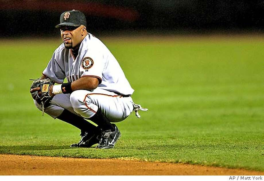 San Francisco Giants Neifi Perez reacts after the Arizona Diamondbacks went ahead during the fifth inning Thursday, June 3, 2004 at Bank One Ballpark in Phoenix. (AP Photo/Matt York) Photo: MATT YORK