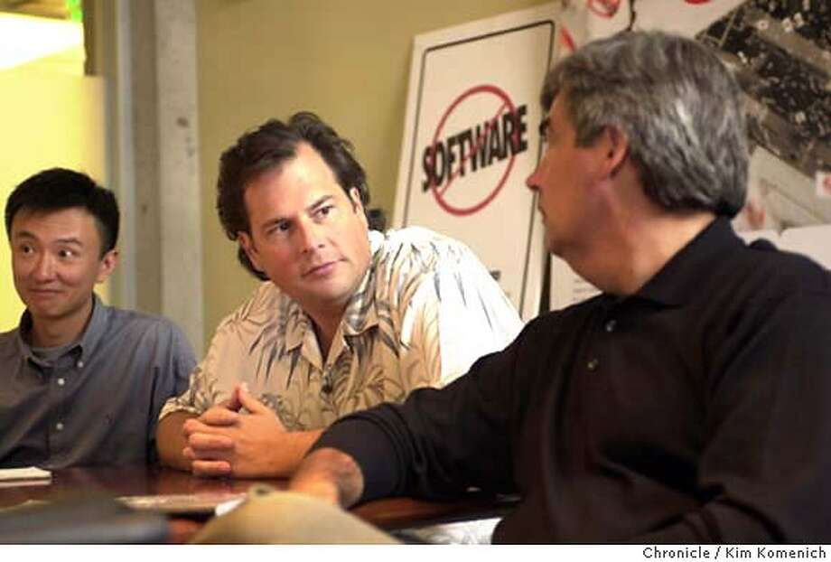 BENIOFF(RAW)b-C-14AUG02-BU-KK  Salesforce.com's Marc Benioff is a pretty atypcal CEO in the post boom dotcom world. He has freewheeling meetings and play with is dog Koa, who accompanies him to the office.  CHRONICLE PHOTO BY KIM KOMENICH Photo: KIM KOMENICH