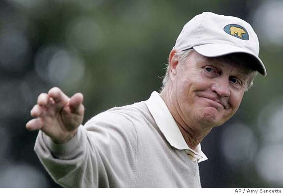 Jack Nicklaus waves to the gallery on the 8th hole during second round play of the 2005 at the Augusta National Golf Club in Augusta, Ga., Saturday, April 9, 2005. (AP Photo/Amy Sancetta) Photo: AMY SANCETTA