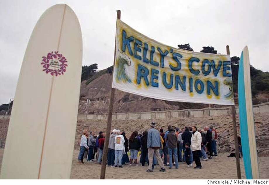 surfers_123_mac.jpg Old friends who are no longer around are remembered with a memorial service. Kelly's Cove on Ocean Beach, the site of a reunion of surfers from the 60's and 70's. A get together of old friends to swap old stories and remember days gone by. 10/16/04 San Francisco, CA Michael Macor / San Francisco Chronicle Mandatory Credit for Photographer and San Francisco Chronicle/ - Magazine Out Metro#Metro#Chronicle#10/17/2004#ALL#5star##0422417010 Photo: Michael Macor