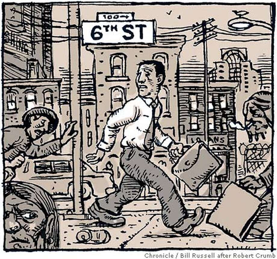 The Wheels of Justice. Chronicle illustration by Bill Russell after Robert Crumb