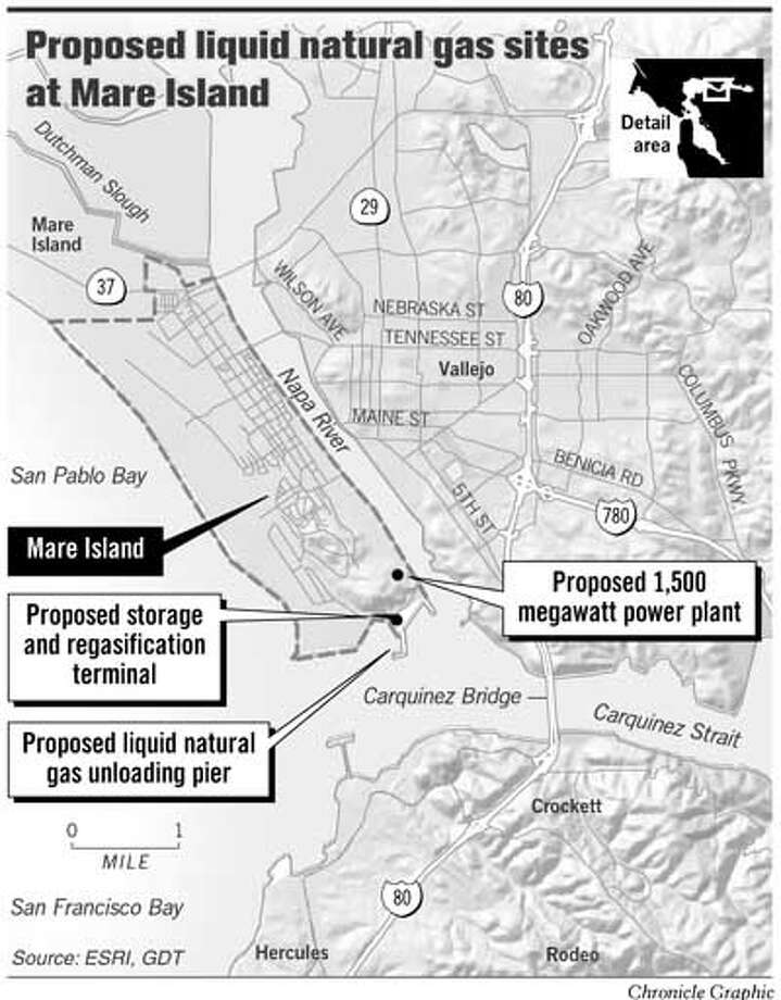 Proposed Liquid Natural Gas Sites at Mare Island. Chronicle Graphic