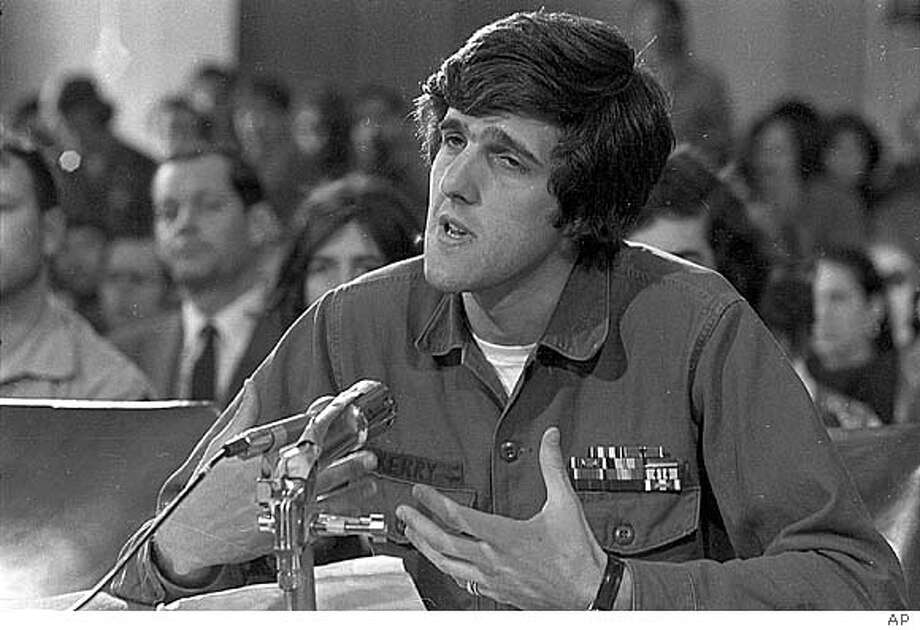 John Kerry, 27, former navy lieutenant who was wounded three times in Vietnam and who has won the silver star for heroism, speaks to the Senate Foreign Relations Committee on behalf of the Vietnam Veterans Against the War (VVAW) on Capitol Hill in Washington, D.C., April 22, 1971. (AP Photo) #######0421731744 Insight#Insight#Chronicle#10/17/2004##Advance##0421731744