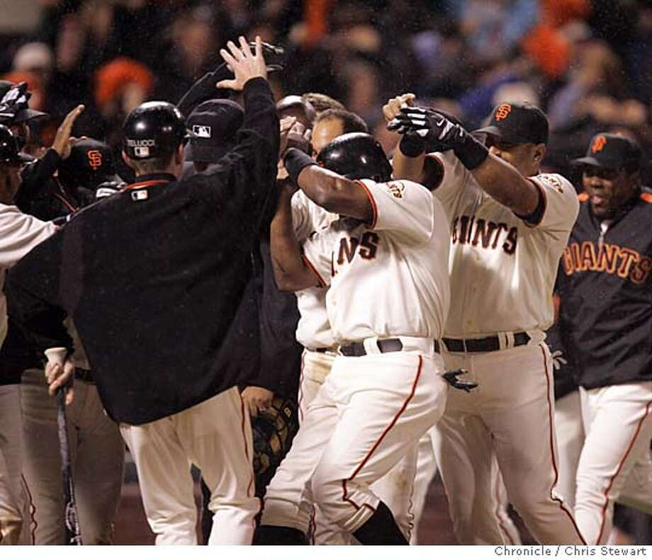 Event on 4/12/05 in San Francisco. The San Francisco Giants win on a dramatic bottom of the ninth three run homer by Marquis Grisson to beat the Colorado Rockies 10-8 in the bottom of the seventh inning at SBC Park.  Chris Stewart / The Chronicle Photo: Chris Stewart