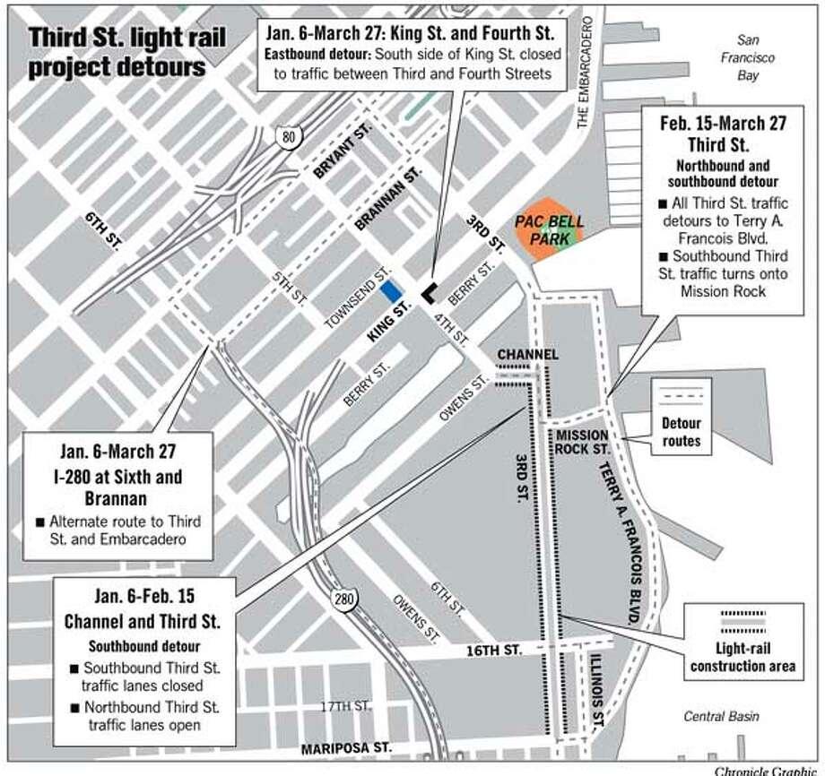 Third St. Light Rail Project Detours. Chronicle Graphic