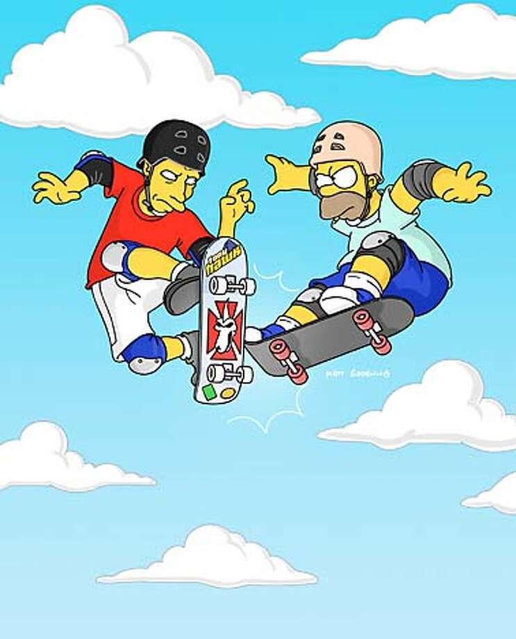 """GOODMAN14B-C-12FEB03-DD-HO  THE SIMPSONS: Homer (R) goes skateboard to skateboard with guest voice Tony Hawk (L) on THE SIMPSONS historic 300th episode """"Barting Over"""" airing Sunday, Feb.16 (8:00-8:30 PM ET/PT) on FOX.  HANDOUT PHOTO/VERIFY RIGHTS AND USEAGE Datebook#Datebook#SundayDateBook#10-17-2004#ALL#Advance##421188787 Photo: HANDOUT"""