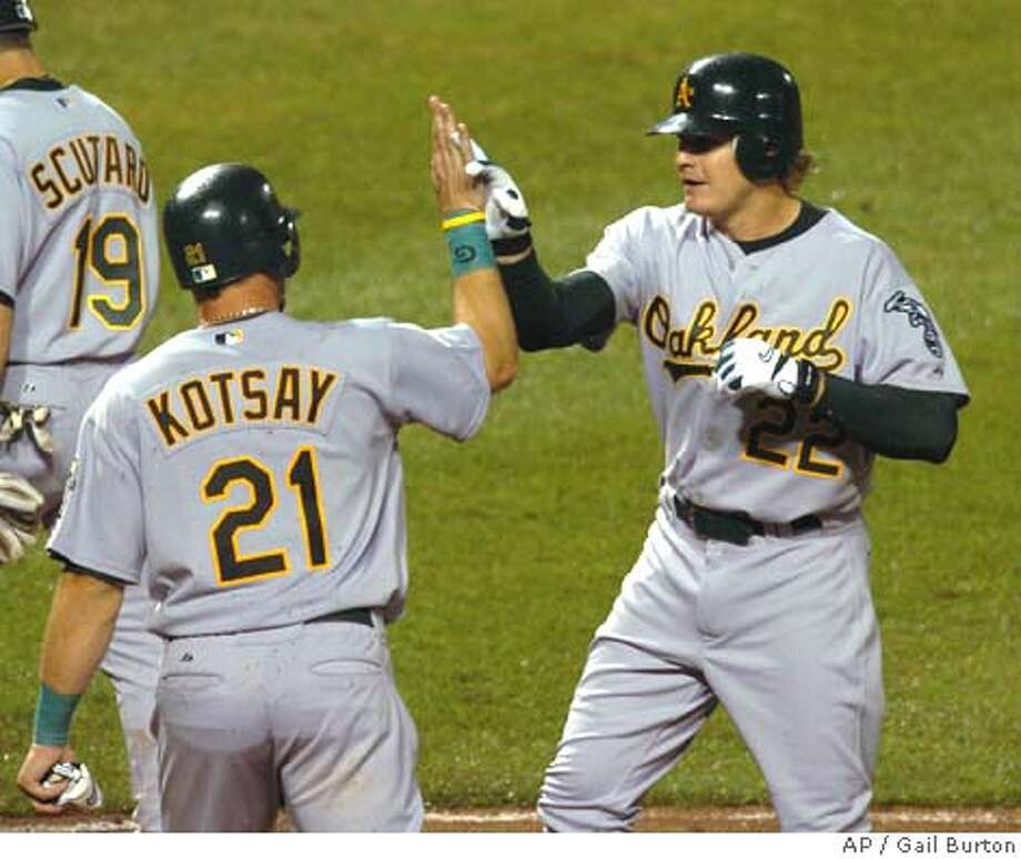 Oakland Athletics Eric Byrnes is congratulated by teammate Mark Kotsay after hitting a three run homer off Baltimore Orioles pitcher Steve Kline in the eighth inning Thursday, April 7. 2005 at Camden Yards in Baltimore. Both Kotsay and Scutaro scored on the homerun by Byrnes.(AP Photo/Gail Burton) Photo: GAIL BURTON