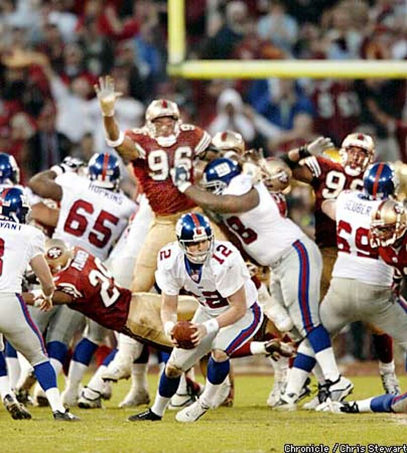The 49ers eke out a win as a bad snap to NY Giants ball holder Matt Allen on a last-minute field goal attempt left them one point shy of the 49ers today in the NFC wild card game at the Stick. The Niners won 39-38. BY CHRIS STEWART/THE CHRONICLE Photo: CHRIS STEWART