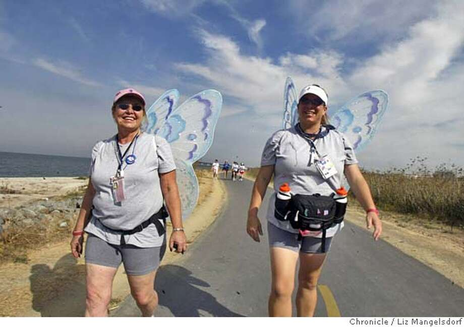 46FB0019.JPG Event on 10/15/04 in San Mateo.  Sherry Pratt, left, a 13 year survivor of breast cancer, walks with her daughter Theresa Torrez along East Third Ave near Foster City Blvd in Foster city. The San Francisco 3-day , 60-mile breast cancer walk participants walk along East Third Ave in Foster city, and then set up camp at the Coyote Point County Recreation Area. Organizers say this is the last walk here. Liz Mangelsdorf / The Chronicle MANDATORY CREDIT FOR PHOTOG AND SF CHRONICLE/ -MAGS OUT Metro#Metro#Chronicle#10/16/2004#ALL#5star##0422415548 Photo: Liz Mangelsdorf