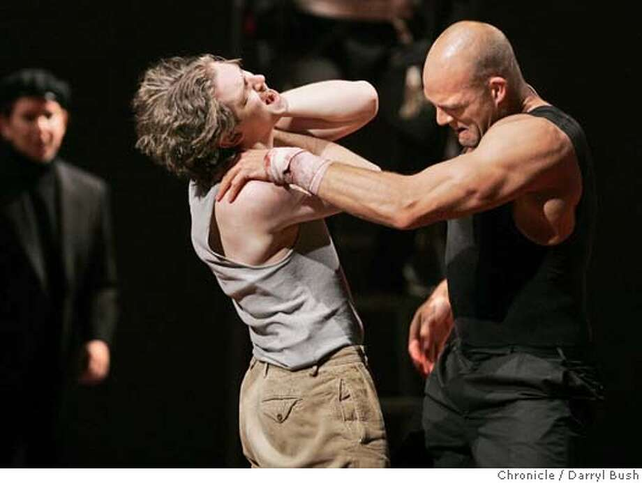 "curran08_094_db.jpg  Orlando played by Dan Stevens, left, wrestles with Charles (the wrestler) on opening night first act of ""As You Like It,"" at the Curran Theatre.  Event on 4/6/05 in San Francisco.  Darryl Bush / The Chronicle MANDATORY CREDIT FOR PHOTOG AND SF CHRONICLE/ -MAGS OUT Photo: Darryl Bush"