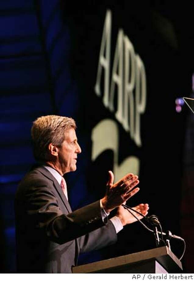 Democratic presidential candidate Sen. John Kerry, D-Mass., delivers a speech at the AARP convention in Las Vegas, Thursday Oct. 14, 2004. (AP Photo/Gerald Herbert) Ran on: 10-15-2004  Sen. John Kerry speaks at the AARP convention Thursday in Las Vegas. Nevadans voted for Bill Clinton in 1992 and 1996. Ran on: 10-15-2004 Photo: GERALD HERBERT