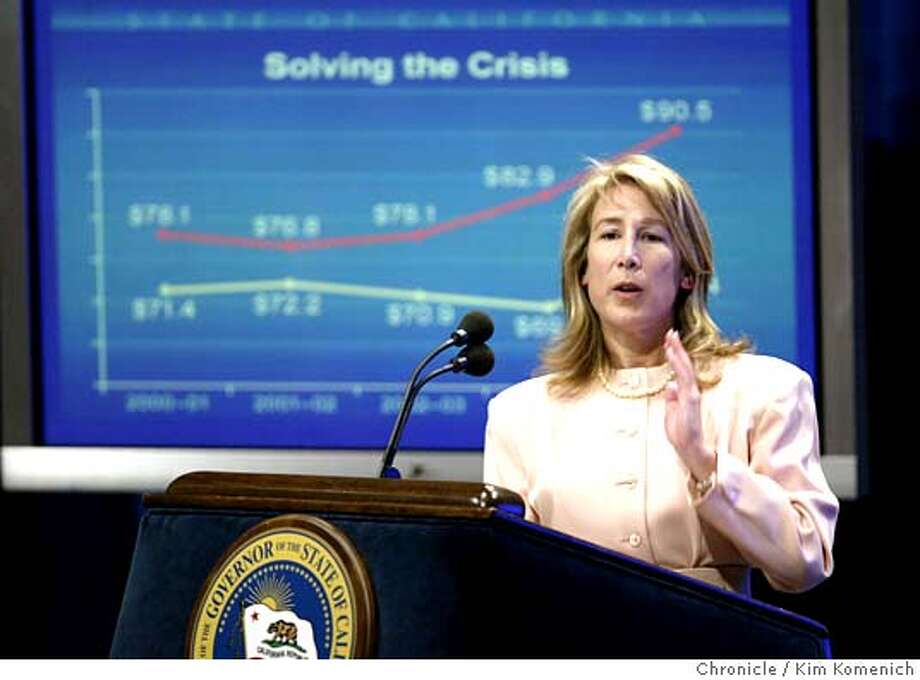 "CALBUDGET_288_kk.jpg  California Director of Finance Donna Arduin follows the governor's statement with some charts and numbers.  California Gov. Arnold Schwarzenegger unveils his ""May Revision,"" a revised 2004-2005 state budget, during a press conference at auditorium at the the Secretary of State's office. Chronicle photo by Kim Komenich in Sacramento. MANDATORY CREDIT FOR PHOTOG AND SF CHRONICLE/ -MAGS OUT Metro#Metro#Chronicle#10/14/2004#ALL#5star##0421764662 Photo: Kim Komenich"