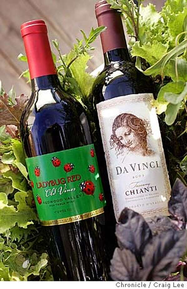 For Bargain Wines column. Photo of 2002 Lolonis lady Bug Red (left), and 2003 Da Vinci Chianti (right).  Event on 10/9/04 in San Francisco. Craig Lee / The Chronicle Photo: Craig Lee