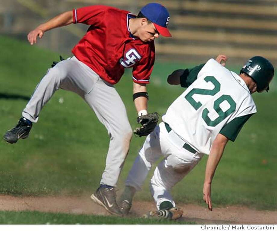 Sacred heart baserunner Aaron Bjorkquist(29) steal third base as St. Ignatius third baseman Mike Watkins covers on the play.  Sacred Heart Cathedral beats St. Ignatius 6-3 at Big Rec. Mark Costantini/San Francisco Chronicle Photo: Mark Costantini