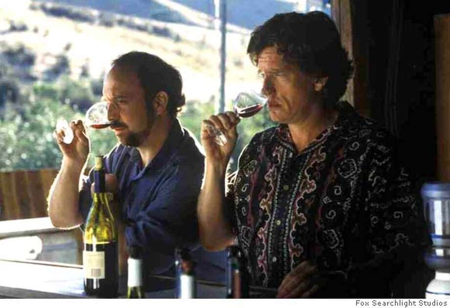 "Actors Paul Giamatti (L) and Thomas Haden Church are shown in a scene from the new film ""Sideways,"" directed by Alexander Payne, in this undated publicity photograph. The film received seven Golden Globe nominations, the most for any film, including best motion picture musical or comedy, as nominations were announced by the Hollywood Foreign Press Association in Beverly Hills December 13, 2004. The Golden Globe Awards will be presented in Beverly Hills January 16, 2005. Fox Searchlight Studios/Handout Ran on: 12-14-2004  Jamie Foxx channels Ray Charles in &quo;Ray.&quo; Foxx was also recognized for &quo;Collateral.&quo; Ran on: 12-26-2004 0 Photo: HO"