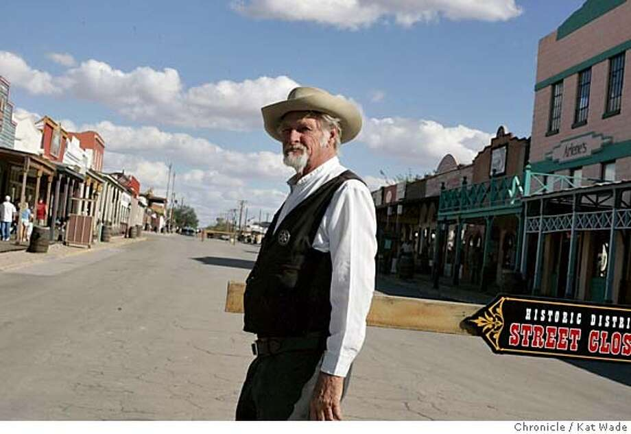"""PREAZDEBATE_029_KW.jpg In Tombstone, Arizona, the site of the historic shoot out at the O.K. Coral in 1881 we find a wide range of political views including Kerry supporter and actor, Richard Blake, 80, of Dragoon, Az, who plays the marshall in a shoot out comedy show in Tombstone just two days prior to the final """"shoot out"""" debate between 2004 presidential candidates President George W. Bush and Senator John Kerry in Tempe. Chronicle Photo by Kat Wade Mags out/mandatory credits San Francisco Chronicle and photographer/ Nation#MainNews#Chronicle#10/13/2004#ALL#5star##0422408471 Photo: Kat Wade"""