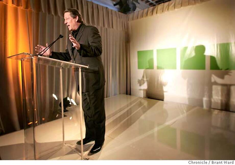 Former VP Al Gore opened the press conference Monday morning.  Former VP Al Gore and lawyer Joel Hyatt, the chairman and CEO, respectively, of a new cable network called INdTV announced the details of their new plan at the 118 King Street building where the studio will be built.  Brant Ward 4/5/05 Photo: Brant Ward