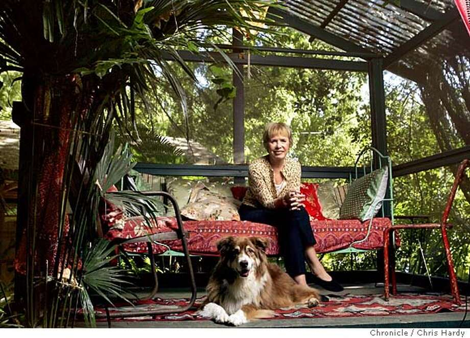 Interior designer Marni Leis who has designed many cool hotels in SF .  She has a completely renovated 1910 house in Mill Valley with an exquisite outdoor tea garden. Portrait of Leis in her garden, along with her dog Lulu  Chris Hardy / San Francisco Chronicle Photo: Chris Hardy