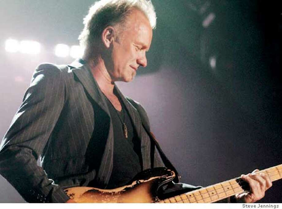 Sting, who hasn't played a college venue in ages, delivered a revved-up performance at the Event Center at San Jose State. Photo by Steve Jennings