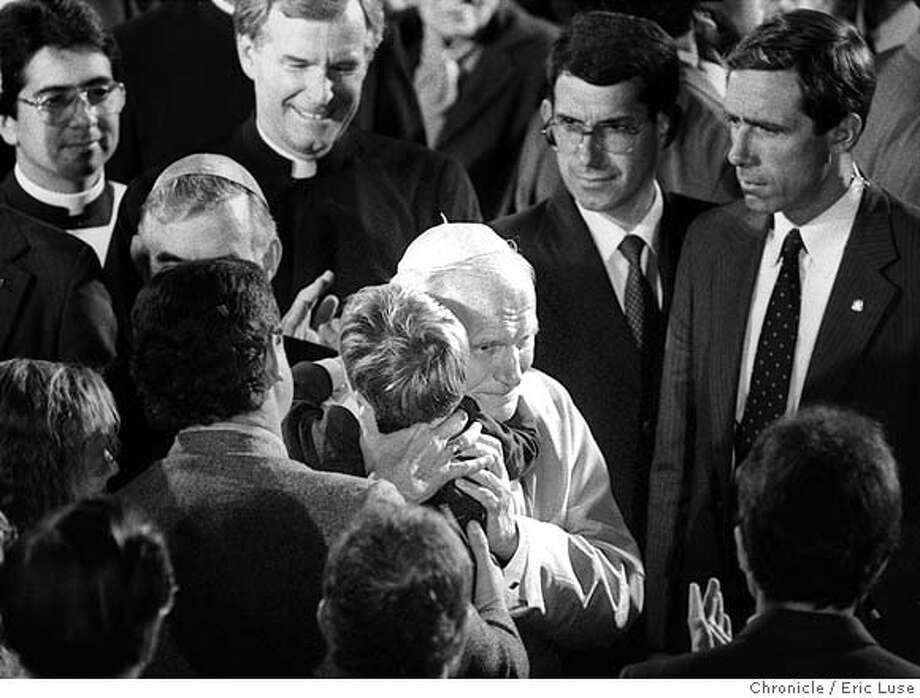 3390/17SEPT87/CD/EL  Pope John Paul 11 hugs Brandon O'Rourke at Mission Dolores.  PLEASE double check but I believe Brandon was a victim of AIDS.(eric)  BY ERIC LUSE/THE CHRONICLE ordered this today at 3:00, can't find. NOT CCI! Photo: ERIC LUSE