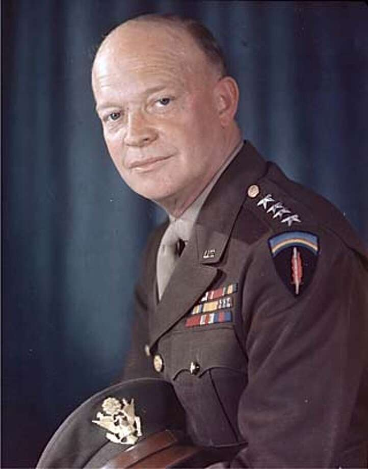 FILE--President Dwight D. Eisenhower,shown in this undated file image, was caught on an Oval Office tape recorder complaining about a Republican attempt to limit his foreign policy options and referring to a predecessor as ``almost an egomaniac.'' The first secret Eisenhower recording made public of a Jan. 7, 1955 coversation was released Friday by the Eisenhower Library through the national Archives. (AP Photo/File) ALSO RAN 01/30/2002 CAT Nation#MainNews#Chronicle#10/12/2004#ALL#5star##421803005