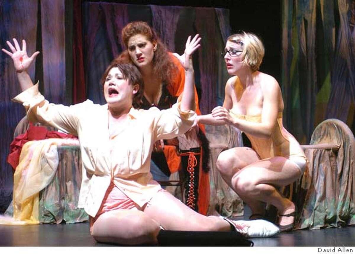LAURA12 (l to r) Elizabeth Millican (Laura Bush), Joyful Simpson (Desiree) and Jean Johnstone (Dodie Dodson) photo by: David Allen Datebook#Datebook#Chronicle#10/12/04#ALL#Advance##0422407581