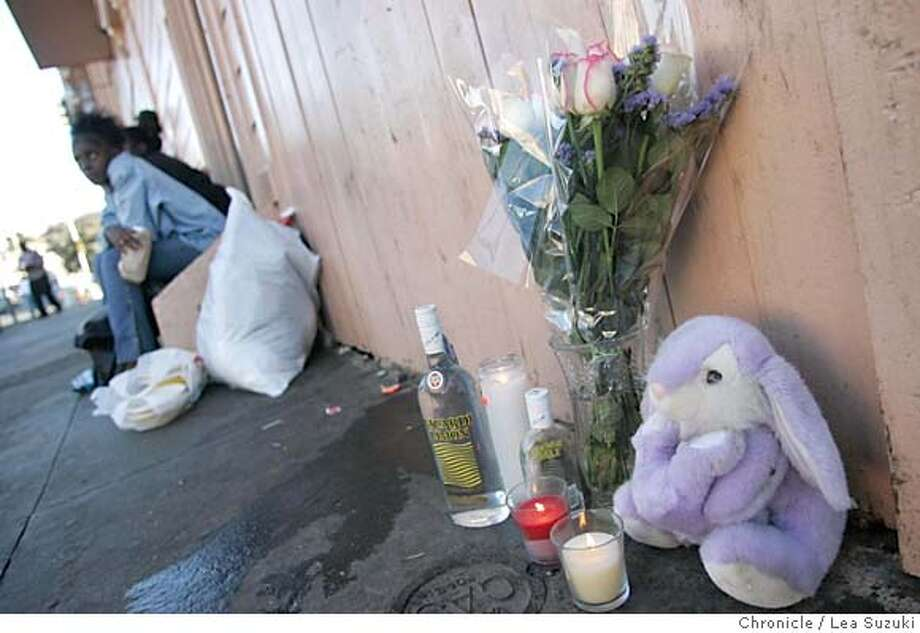 slay005_ls.jpg  Memorial on Newcomb St. included a purple bunny, bottle of Bacardi Limon, candles and flowers, where the shooting occurred. Story on a shooting early this morning where 5 were shot, 2 fatally at 3rd Street and Newcomb in San Francisco. Photo taken on 10/11/04 in San Francisco, CA.  Lea Suzuki/ San Francisco Chronicle MANDATORY CREDIT FOR PHOTOG AND SF CHRONICLE/ -MAGS OUT Metro#Metro#Chronicle#10/12/2004#ALL#5star##0422408200 Photo: Lea Suzuki