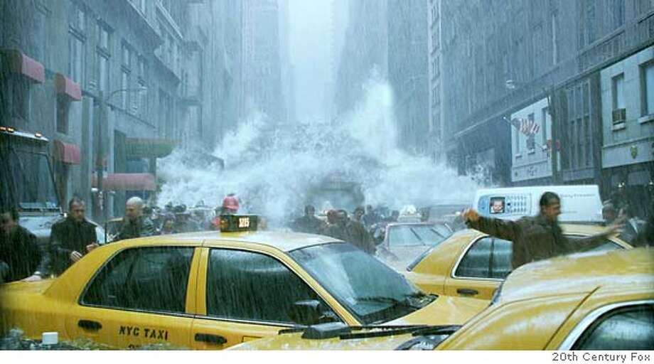 "A wall of ocean water courses down New York's Fifth Avenue in the wake of a catastrophic climatic shift, in a scene from the new action thriller film ""The Day After Tomorrow"" directed by Roland Emmerich in this undated publicity photo. The film opens May 28, 2004 in the United States. REUTERS/20th Century Fox/Handout LEISURE-DAYAFTERTOMORROW Fifth Avenue in New York after a rather severe climate shift in the film &quo;The Day After Tomorrow.&quo; Fifth Avenue in New York after a rather severe climate shift in the film &quo;The Day After Tomorrow.&quo; 0 Datebook#Datebook#Chronicle#10/12/2004#ALL#5star##0421783078 Photo: HO"