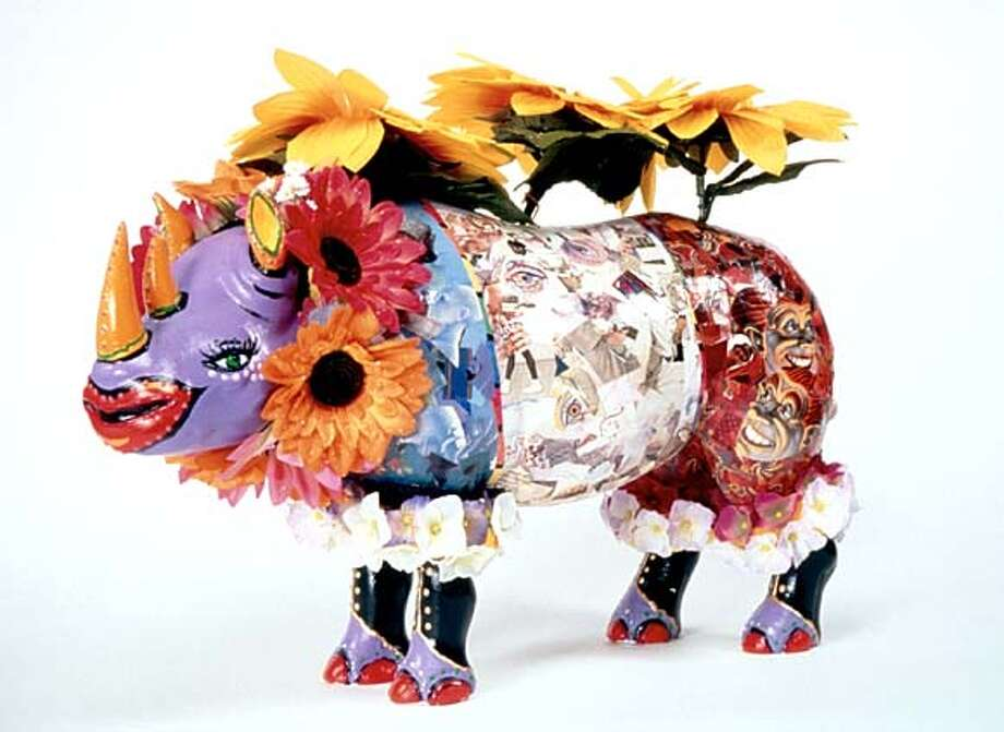 Decked out in drag and decorated with flowers, among other things, 25 stuffed rhinos are on display at the San Francisco Lesbian, Gay, Bisexual and Transgender Community Center.