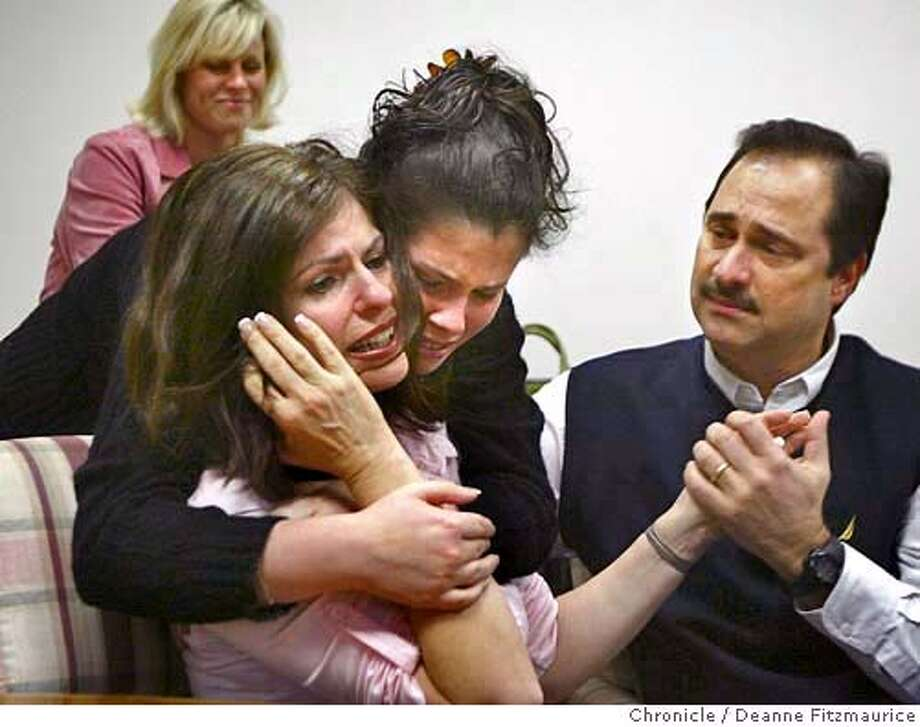 Carmen is hugged by Pamela as she is told by the doctor that the artificial insemination was successful and that she is pregnant. Her husband, Bob is at right and her good friend, Marian Johnson is behind. Bob and Carmen Pack lost their two children when an allegedly drunk driver hit them on a sidewalk near their Danville home. With the help of Carmen's niece, Pamela Chirinos who came from Peru and donated her eggs, Carmen has become pregnant with twins through artificial insemination.  Deanne Fitzmaurice / The Chronicle Photo: Deanne Fitzmaurice