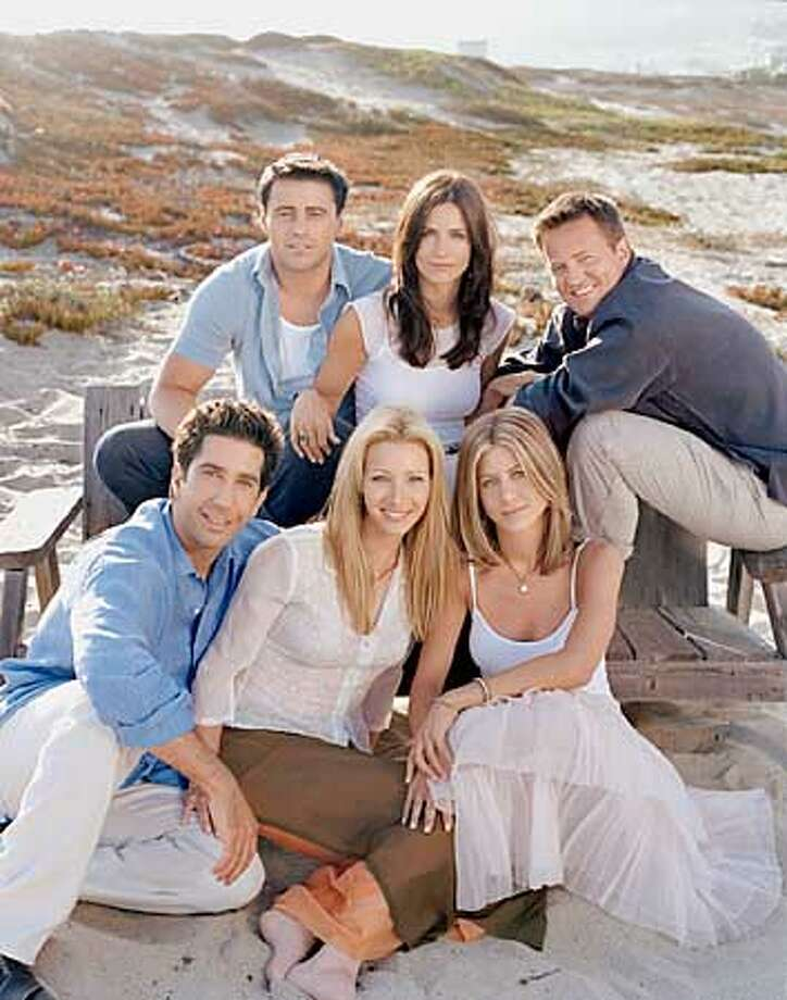 FRIENDS -- NBC Series -- Pictured (clockwise from top left): Matt LeBlanc as Joey Tribbiani, Courteney Cox Arquette as Monica Geller, Matthew Perry as Chandler Bing, Jennifer Aniston as Rachel Green, Lisa Kudrow as Phoebe Buffay, David Schwimmer as Ross Geller -- Warner Bros. photo: Lance Staedler  HANDOUT PHOTO/VERIFY RIGHTS AND USEAGE Photo: HANDOUT