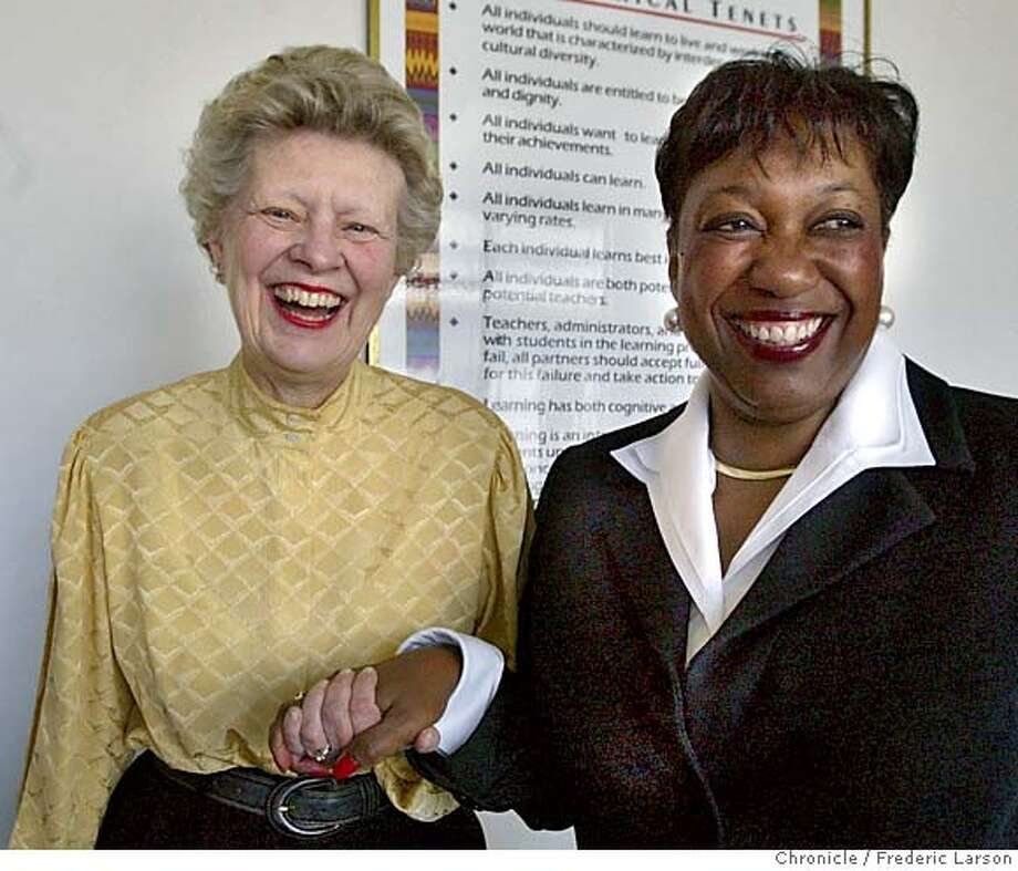 ; Superintendent Arlene Ackerman's (right) phone call to then-City Attorney Louise Renne (left) back in August, 2000 telling her something in the district's facilities department seemed fishy to the announcement Wednesday that she helped the district win $43.1 million from a big energy company that defrauded it. 7/2/04  San Francisco Chronicle Frederic Larson Photo: Frederic Larson