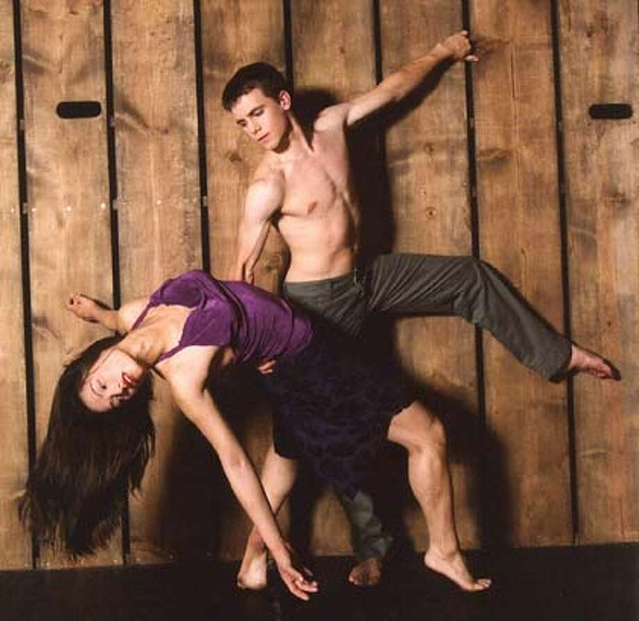 The dancers in this photo are Diane Fong and Andrew Ward.  Performances for the Joe Goode play. Datebook#Datebook#Chronicle#10/11/2004#ALL#Advance##0422395057