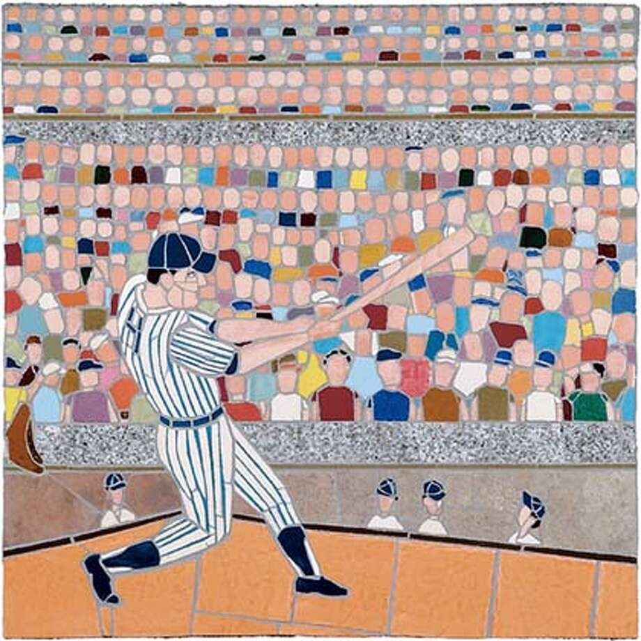 "Jonathan Mandell, ""Batter's Swing"" 2004, ceramic tile mosaic, 24 x 24 inches. Courtesy of George Krevsky Gallery Photo: George Krevsky Gallery"