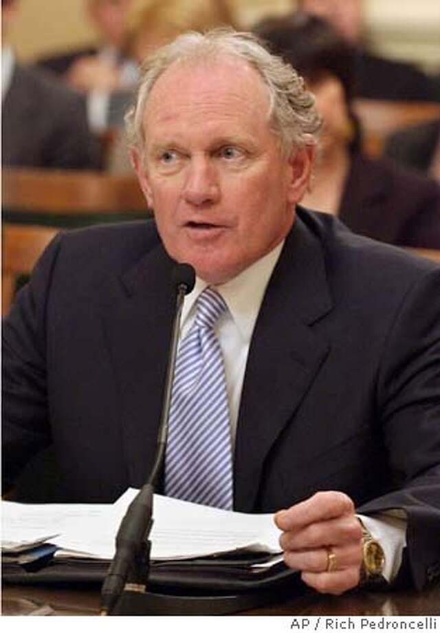 Former state Sen. Bruce McPherson, R-Santa Cruz, answers questions concerning his nomination as Secretary of State before the Assembly Rules Committee at the Capitol in Sacramento, Calif., Wednesday, March 30, 2005. McPherson, Gov. Arnold Schwarzenegger's nominee to replace Kevin Shelley, who resigned earlier this year, has already been approved by the Senate. (AP Photo/Rich Pedroncelli) Photo: RICH PEDRONCELLI
