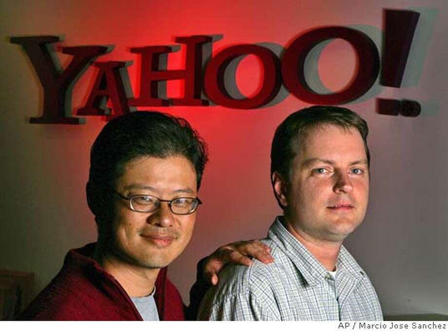 ** ADVANCE FOR USE MONDAY, FEB. 28, 2005 ** Yahoo co founders Jerry Yang, left, and David Filo pose for a portrait in the company's headquarters in Sunnyvale, Calif. on Wednesday, Feb. 23, 2005. (AP Photo/Marcio Jose Sanchez) Ran on: 02-28-2005  Yahoo co-founders Jerry Yang (left) and David Filo. ADVANCE FOR USE MONDAY, FEB. 28, 2005 Photo: MARCIO JOSE SANCHEZ
