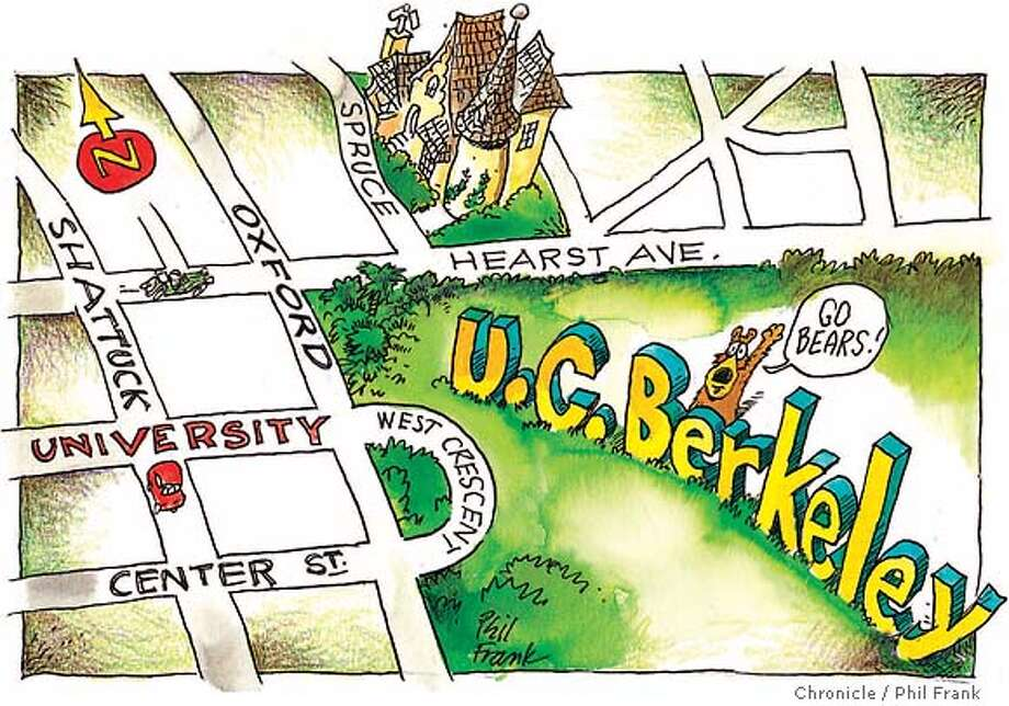 U.C. Berkeley. Chronicle illustration by Phil Frank