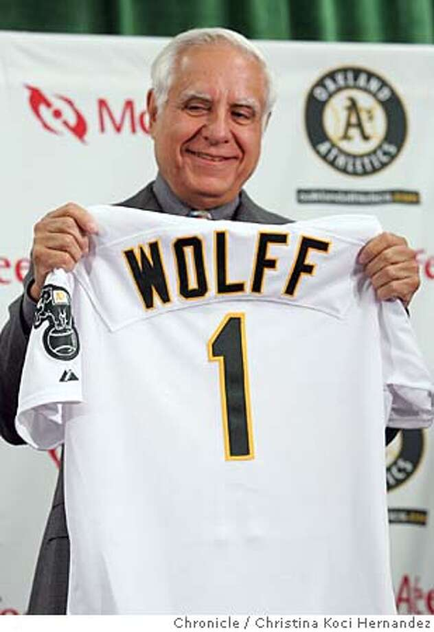 wolff02037_ckh.jpg  New A's owner (actually managing general partner) Lewis Wolff will be introduced to the media  City: Oakland, CA .CHRISTINA KOCI HERNANDEZ/CHRONICLE Photo: CHRISTINA KOCI HERNANDEZ