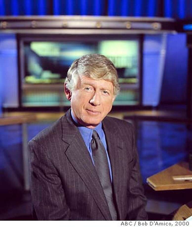 "**FILE**ABC News ""Nightline"" anchor Ted Koppel poses on set in Washington, in this 2000 publicity photo. Koppel, who has anchored ""Nightline"" since its inception a quarter-century ago, said Thursday, March 31, 2005, he will leave the network when contract expires at the end of the year.(AP Photo/ABC, Bob D'Amico) Photo: BOB D'AMICO"