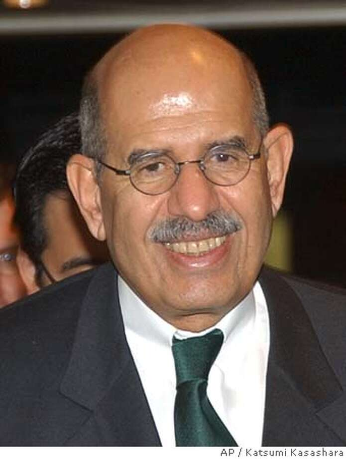 U.N. nuclear agency chief Mohammed ElBaradei smiles as he arrives at a dinner hosted by Japanese Senior Vice Foreign Minister Syuzen Tanigawa at Foreign Ministry's Iikura Guesthouse in Tokyo, Thursday, Oct. 7, 2004. ElBaradei, director of the International Atomic Energy Agency, currently on a four-day visit to Japan, renewed his calls to Iran earlier in the day to fully suspend all uranium enrichment-related activities, after Tehran admitted it has converted a few tons of uranium needed to enrich uranium. (AP Photo/Katsumi Kasashara) Photo: KATSUMI KASAHARA