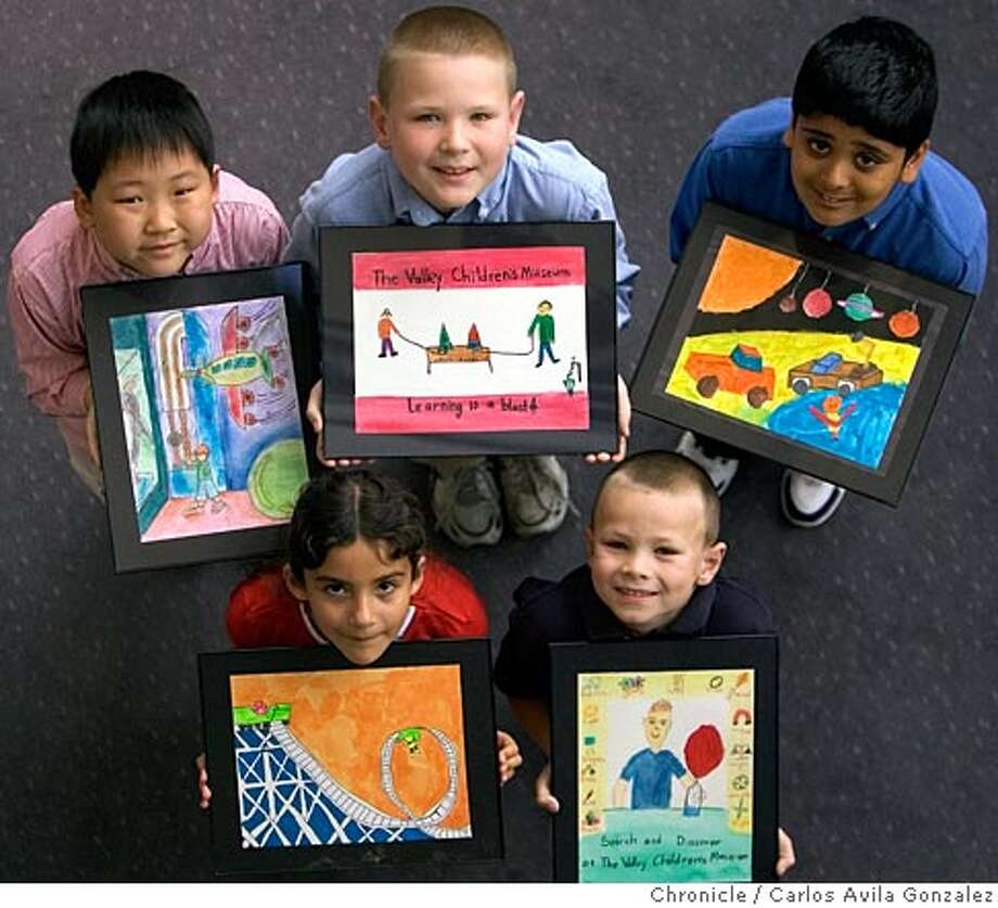 Clockwise from top left, Daniel Won, John Webster, Deepak Matharu, David Webster, from San Ramon, and Selena Lugosi, from Danville. This is feature on a youth art contest being staged by the City of San Ramon and other parties next month, for kids in kindergarten through fifth grade Photo taken on 03/24/05, in San Ramon, Ca. Photo by Carlos Avila Gonzalez/The San Francisco Chronicle Photo: Carlos Avila Gonzalez