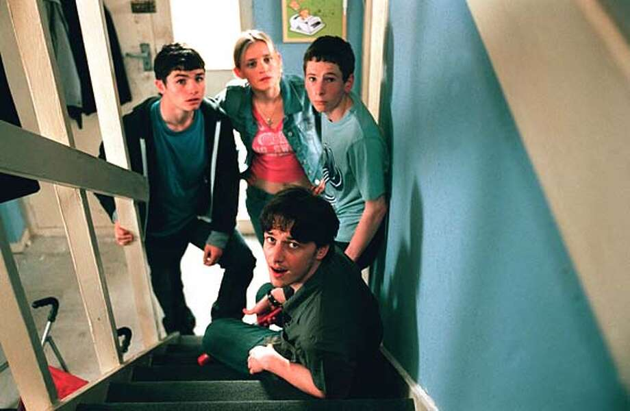 SHAMELESS CHANNEL 4 PICTURE PUBLICITY  SHAMELESS, Episode 4  Lip (Jody Latham), Fiona (Anne-Marie Duff), Ian (Gerard Kearns) and Steve (James McAvoy) hear someone upstairs  Tx: This picture may be used solely for Channel 4 programme publicity purposes in connection with the current broadcast of the programme(s) featured in the national and local press and listings. Not to be reproduced or redistributed for any use or in any medium not set out above (including the internet or other electronic form) without the prior written consent of Channel 4 Picture Publicity 020 7306 8685